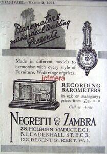 039-NEGRETTI-amp-ZAMBRA-039-Recording-Barometers-ADVERT-Original-Small-1921-Print-AD