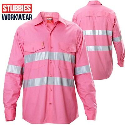 Stubbies Long Sleeve Light Weight Pink Hi Vis Shirt  **FREE POSTAGE**