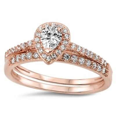 Rose Gold Plated Cz Wedding Engagement Ring Set Solid 925 Sterling Silver