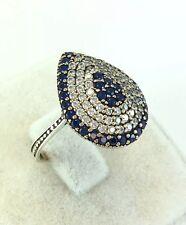 TURKISH HANDMADE OTTOMAN STERLING SILVER SAPHIRE & TOPAZ WOMEN RING Ring Size 8