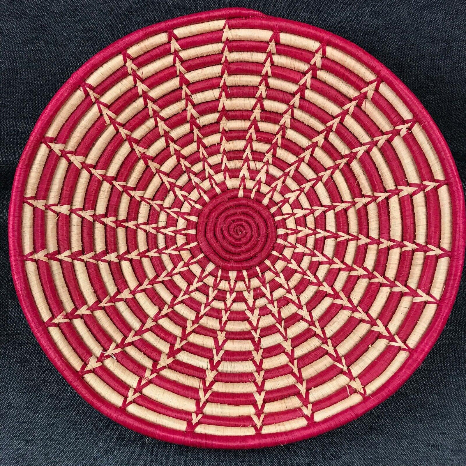 Large 15  Red & Natural Woven Bowl Basket