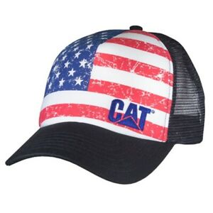 08f46365 Image is loading USA-Caterpillar-CAT-Equipment-Trucker-Twill-Mesh-Diesel-