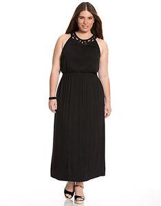 644d0d1870b3 NEW LANE BRYANT PLUS SIZE BLACK BEADED MAXI DRESS SZ 14/16 | eBay