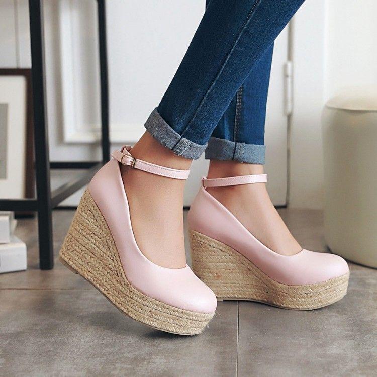 Sandalias de mujer rosa cerrado cuerda cuña plataforma 13 cm elegante y cómodo