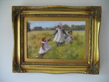 WILLIAM AFFLECK 'PICKING WILD FLOWERS' REPRO OIL PAINTING GILT FRAME