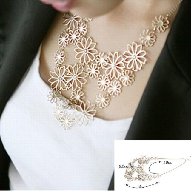 Fashion Charm Women Chain Flower Bib Choker Pendant Statement Necklace Jewelry