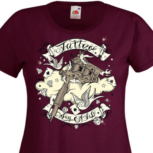 T-shirt femme TATTOO Way Of Life Tatouage Old School Hirondelles Rock/'n/'Roll