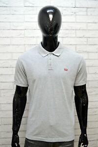 LEVIS-Polo-Maglia-Uomo-Taglia-L-Camicia-Shirt-Manica-Corta-Cotone-Grigio-Hermd