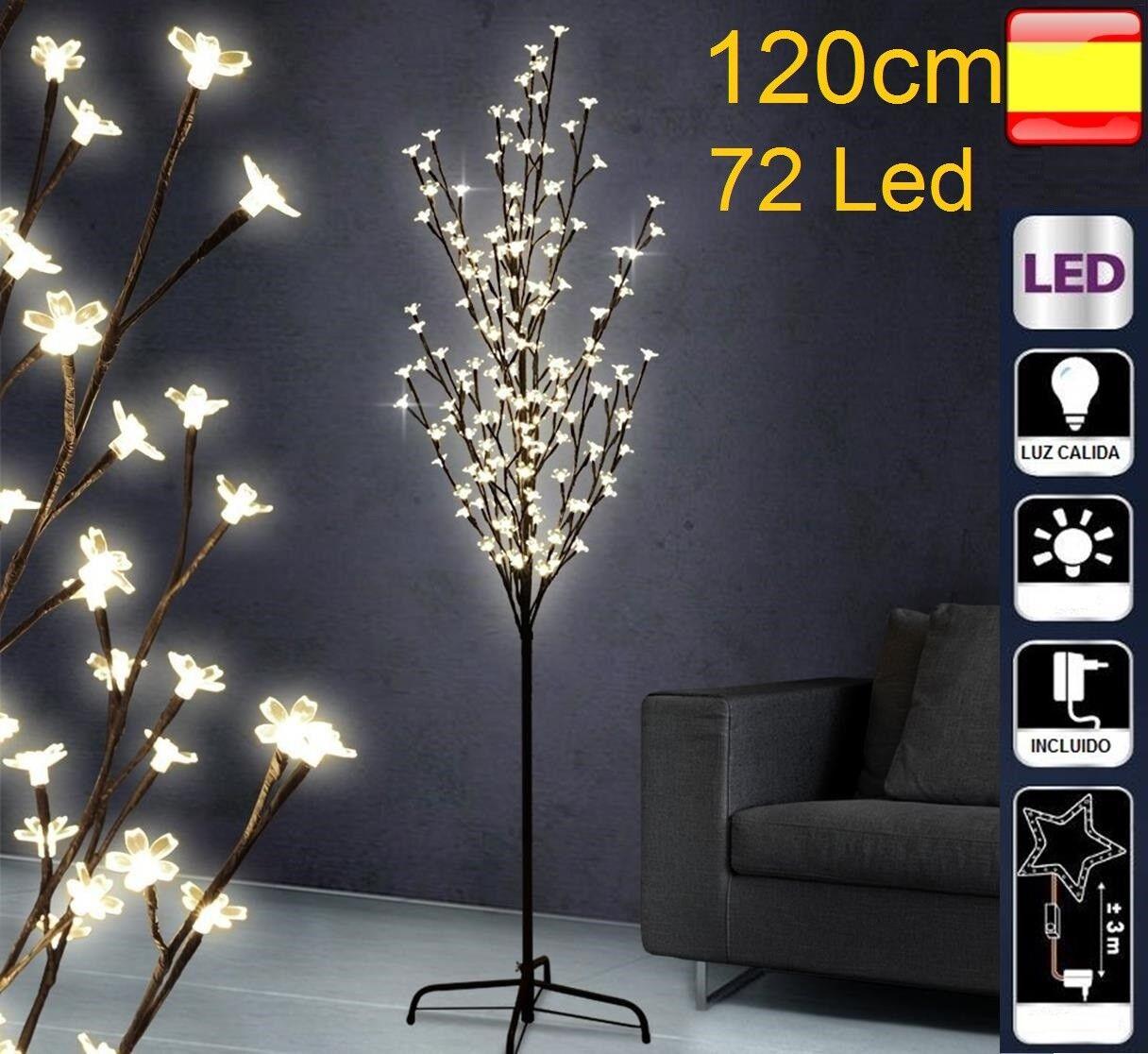 Arbol de navidad con luces led 1,2m 120cm 72 Led cerezo decorativo