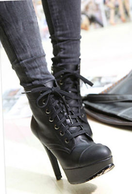 Hot Womens Rivets High Heels Platform Lace-up Ankle Punk Boots Black Shoes Size