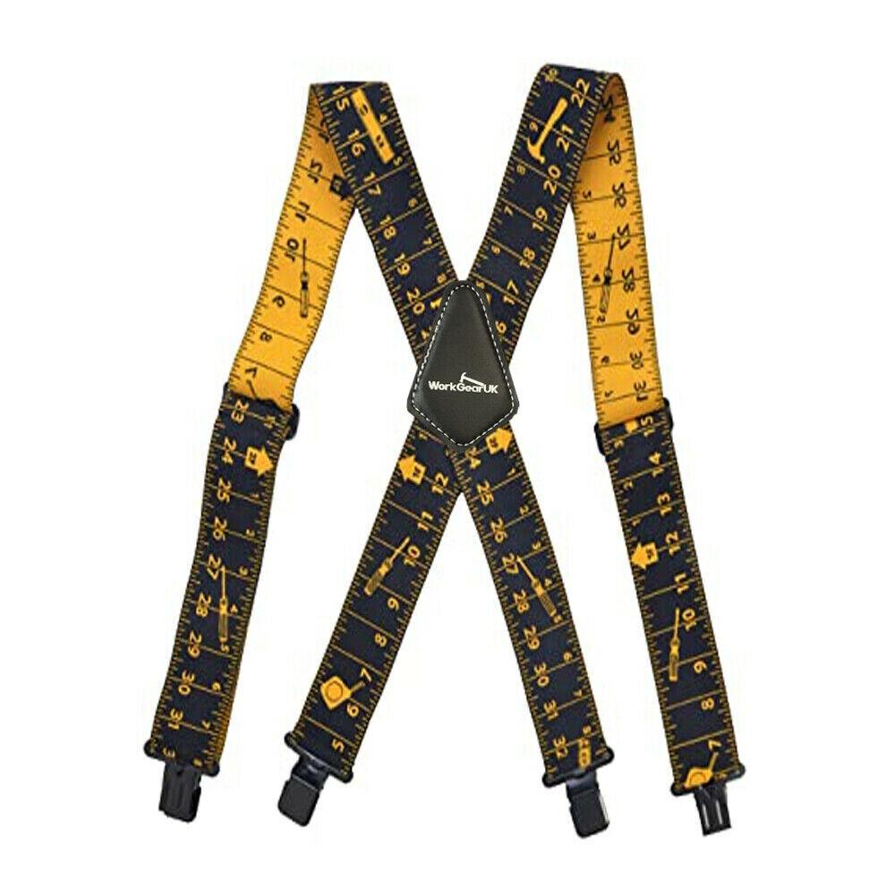 WorkGearUK Trouser Braces Heavy Duty Yellow & Black Ruler Design Nylon WG-HDB11