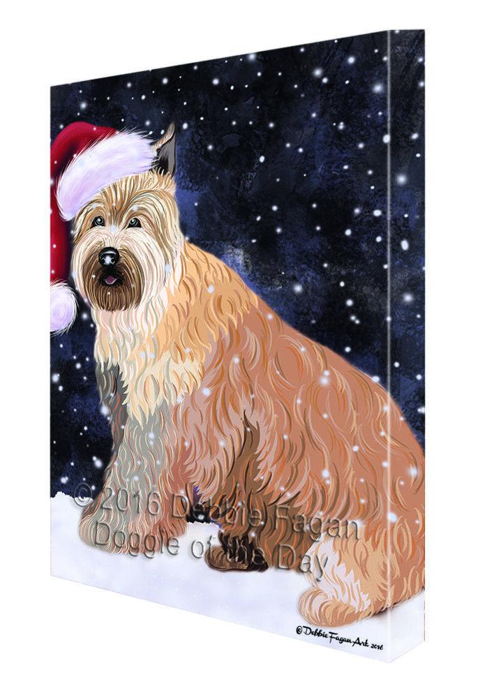 Let it Snow Christmas Holiday Berger Picard Dog Santa Hat Canvas Wall Art