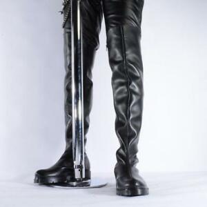 Sexy-Mens-Riding-Black-Over-Knee-High-Combat-Dance-Flange-Shoes-Round-Toe-Boots