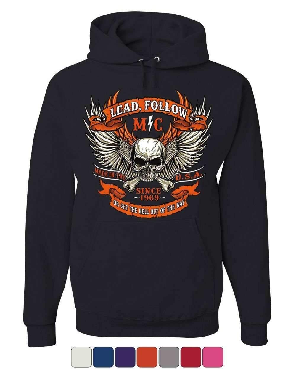 e8527e4b Lead Follow or Get the Hell Out of the Way Hoodie Route 66 MC Sweatshirt.  Vintage Reverse Weave Champion Sweatshirt. Size XL.