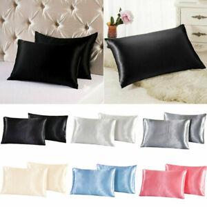 Queen Satin Smooth Silk Pillow Case Pillowcase 8colors