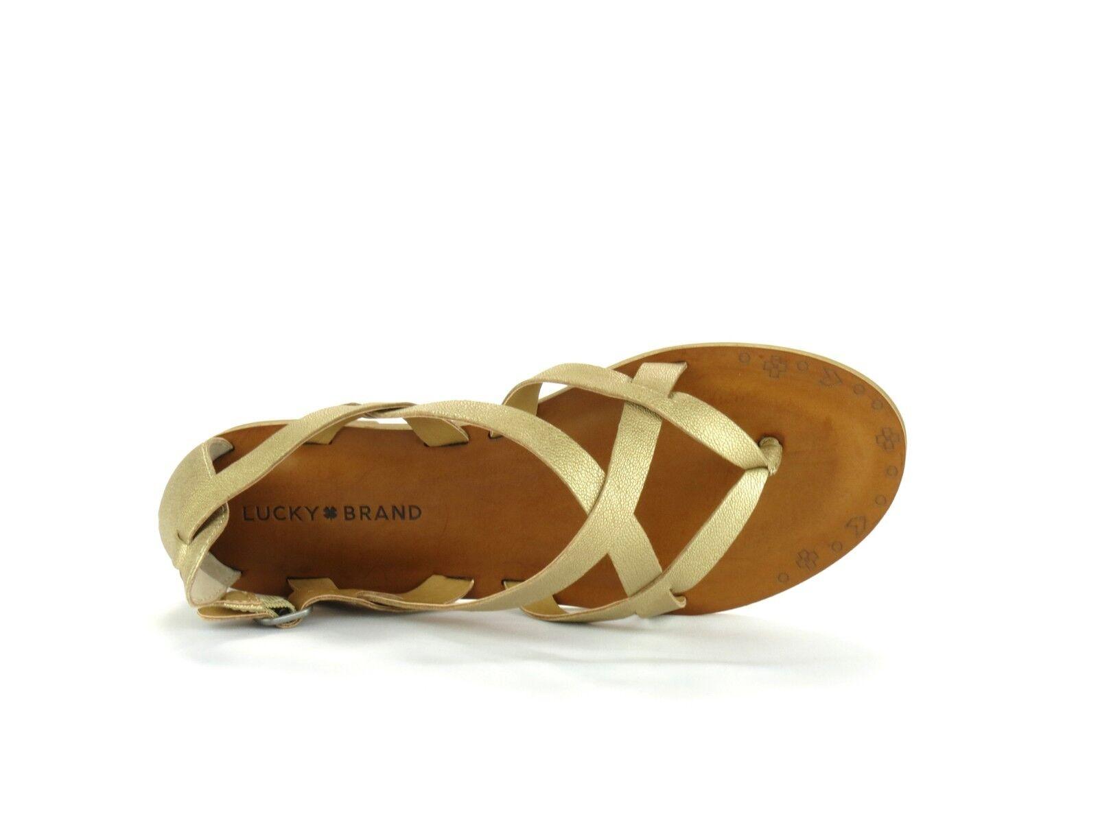 Lucky Brand Ainsley Travertine Gold Leder Casual Boho Strappy Strappy Strappy Sandale NEW 10 1fc22b