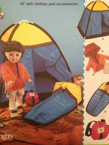 """45.5cm Simplicity Sewing Pattern 5679 18/"""" Dolls Clothes Accessories Tent UC"""