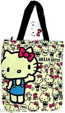 HELLO KITTY Large Zipper Top Canvas Shoulder Bag Hand Bag Travel Bag