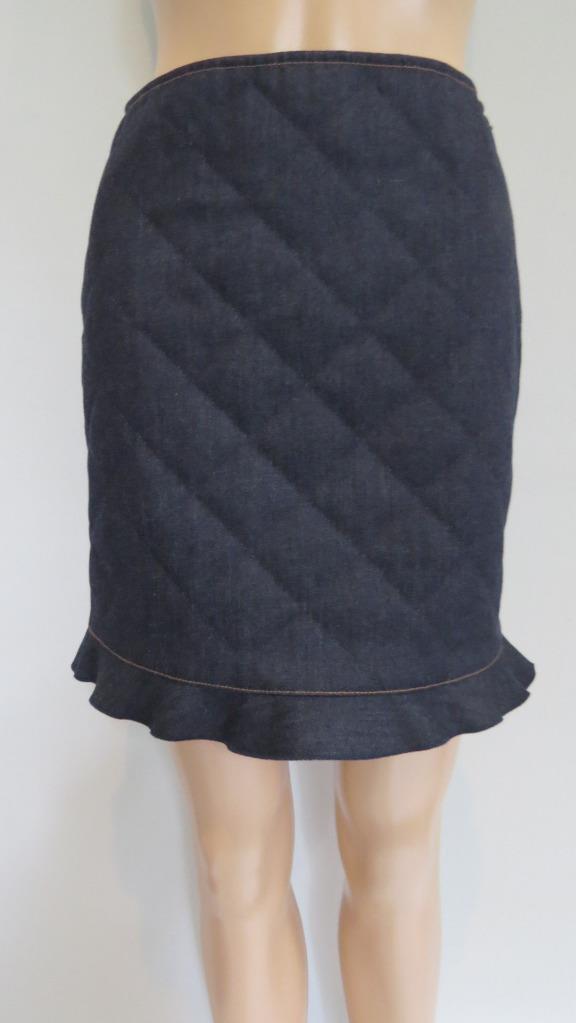 NWT Fendi 'Dark bluee' Denim Quilted Ruffle Trim Skirt, Size 2,  650