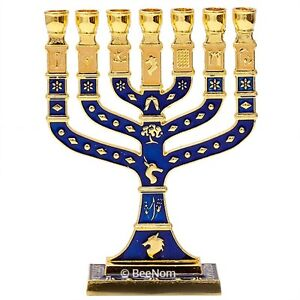 Gold-Blue-Enamel-Jewish-Hanukkah-Menorah-for-7-Candle-from-Jerusalem-4-5-034-11-5cm