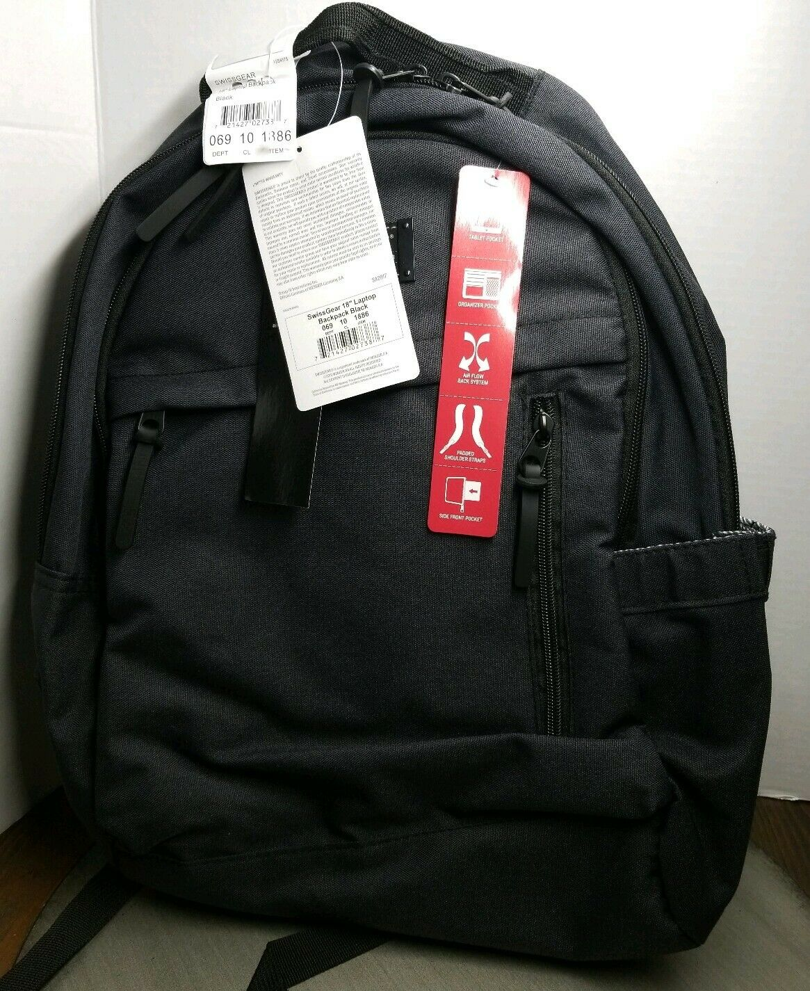 Air Flow Backpack; Swissgear Daypack Padded Shoulder Straps.Tablet Pocket Details about  /SALE