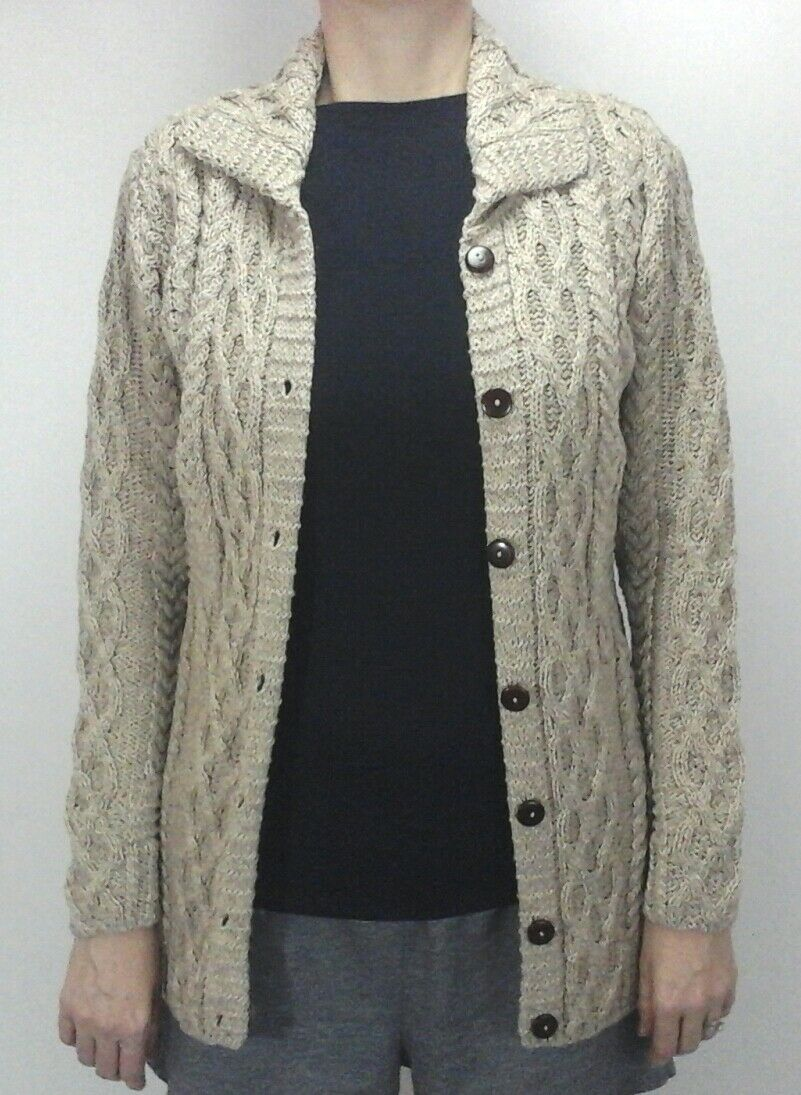 ARAN Woolen Mills Cardigan Sweater Oatmeal Button Up Merino Wool Cable Women's S