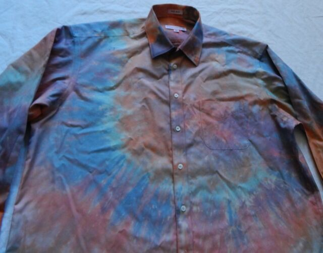 Tie Dye Orange  Long Sleeve Button Up Shirt - 2XL Mens Psychedelic Hand Made XXL