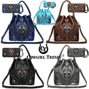 Sugar-Skull-Punk-Handbag-Studs-Concealed-Carry-Purse-Women-Shoulder-Bag-Wallet