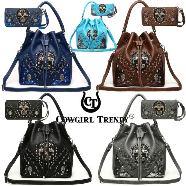 Texas West Conceald Carry Double Pocket Fashion Saffiano Tote Bag In Multi Color