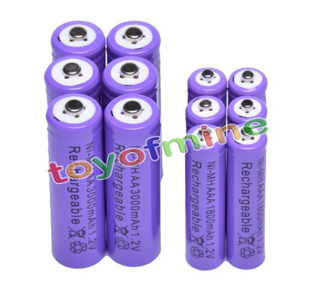 6x AA 3000mAh + 6x AAA 1800mAh 1.2V NI-MH Rechargeable Battery 2A 3A Purple