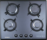 F4-b60 60cm Built-in Gas Hob 4 Burner Ffd Cooktop Black Tempered Glass Lpg