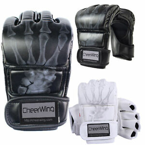 Leather-MMA-UFC-Grappling-Gloves-Fight-Boxing-Muay-Thai-Ultimate-Mitts-Sparring