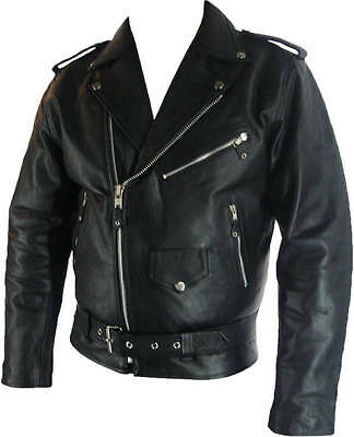 Mens Classic Brando Biker Style Real Leather Jacket #B2 'XXS to 8XL Available'