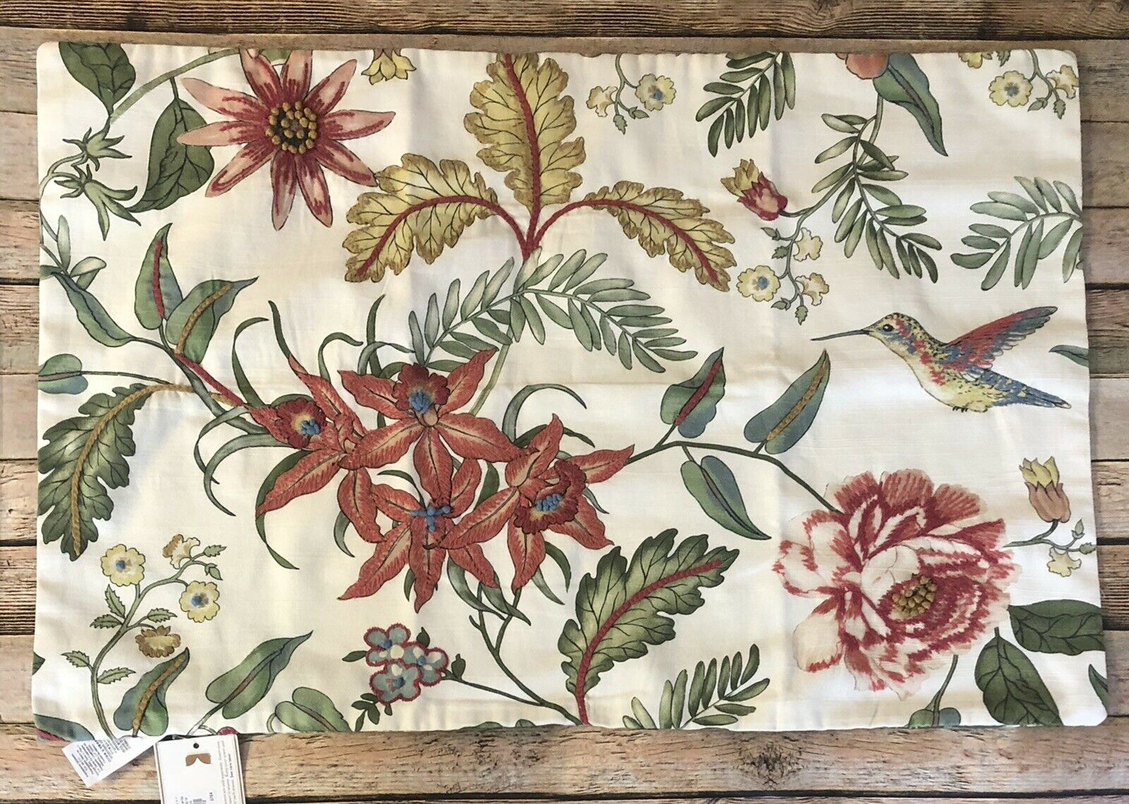 """NEW POTTERY BARN Karina Embroiderosso Pillow Cover Bird Flowers 20"""" x 30"""" Large"""