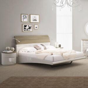 watch 24b44 59f9b Details about Azzurri High Gloss & Oak Floating Double Bed