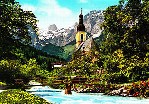 Ramsau-bei-Berchtesgaden-Kirche-mit-Reiteralpe-ungelaufene-AK