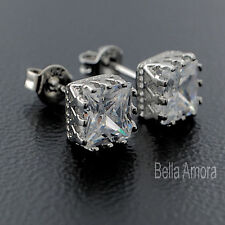 Pretty 925 Silver Clear Crystal Square Stud Earrings New Ladies Gift UK 222