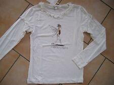 (H871) Alberta Ferretti Girls Shirt + Druck, Volants & Strass Logo Besatz gr.164