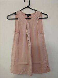 Atmosphere Women's Top Size 10 Dusty Pink Sleeveless V-Neck Zip Front