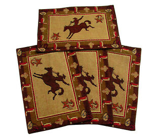 Cowboy-Bronco-Placemats-13x19-inches-Woven-Set-of-4