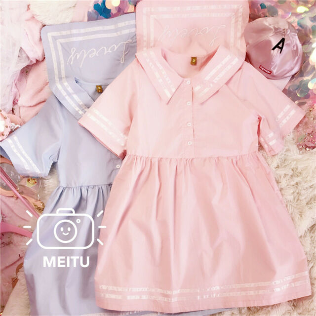 New Japanese Sailor Collar Sweet Loose Mori Girl Short Sleeve Kawaii Dress #