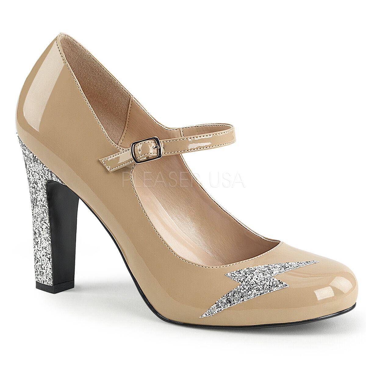 Sexy 4  High Heel Cream Mary Jane Pumps shoes Lightning Bolt Silver Glitters
