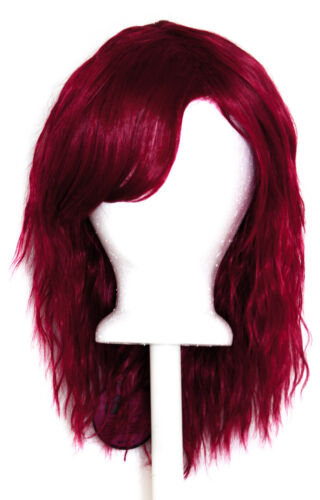 14/'/' Crimped Shoulder Length w// Short Bangs Burgundy Red Cosplay Wig NEW