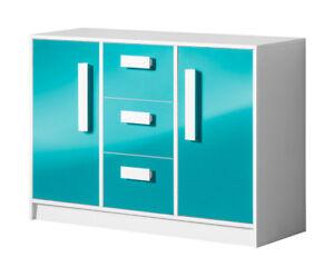 Details zu Sideboard Anrichte Kommode Kinderzimmer 120cm weiß / Hochglanz  (GU-04)