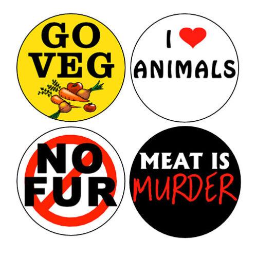Vegetarian//Animal Rights button set pins vegan PETA no fur meat is murder go veg