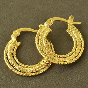 10K-Yellow-Gold-Filled-GF-Hoop-Dangle-Earrings-Earings-21mm-Drop-2mm-Wide