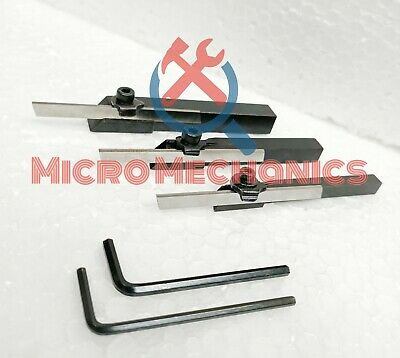 Set of 3 Mini Lathe Cut Off Parting Tool Holders 6 mm 8 mm 10 mm Shanks with HSS Blades