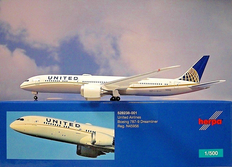 Herpa Ali 1 500 Boeing 787-9 United N45956 528238-001 528238-001 528238-001 Modellairport500 e7f753