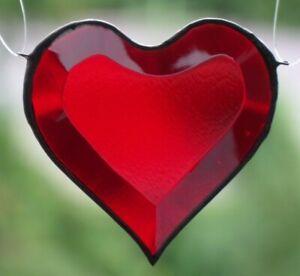 Bleiverglasung-Fensterbild-Suncatcher-034-Rotes-Facettenherz-034-in-Tiffany-8-7-cm