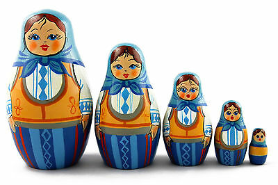 Spikelets Cornflower Matryoshka Russian Nesting Dolls Matrioska Set 7 Pcs